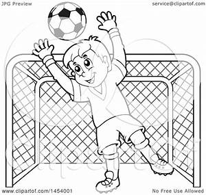 Clipart of a Black and White Lineart Soccer Goalie Boy ...
