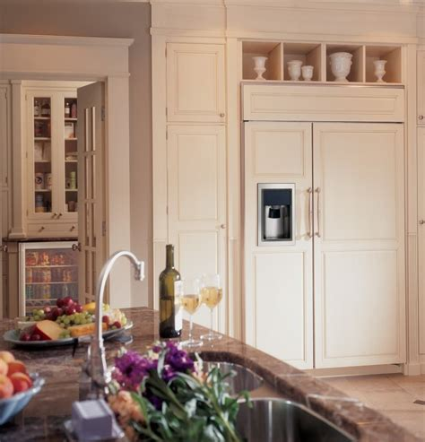 monogram zisbdk   built  side  side refrigerator rustic farmhouse kitchen