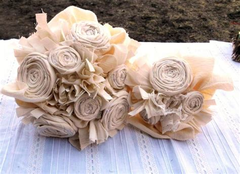 shabby chic bridal bouquet wedding bouquet rustic bridal vintage cotton fabric flower bouquet country shabby chic 10