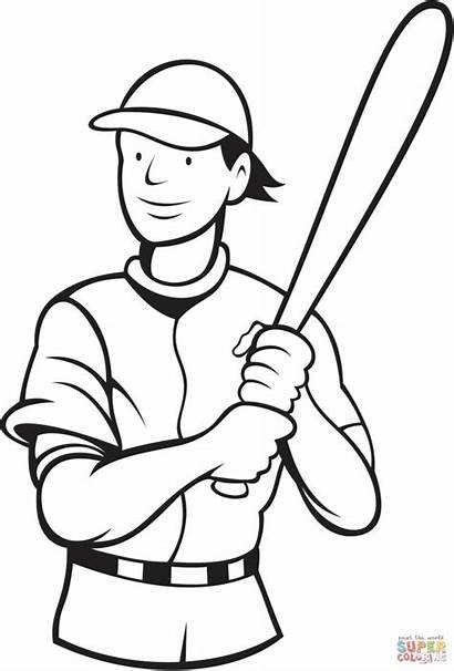 Coloring Baseball Pages Player Batter Stance Batting