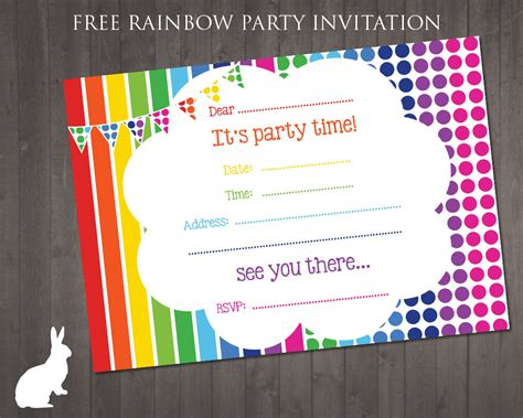 invitations to print free free rainbow party invitation free party invitations by