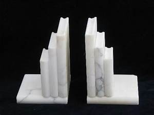 Vintage Book Ends Pair Of White Alabaster Or Italian