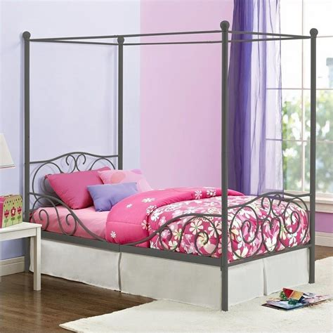 canopy twin metal bed in pewter 4020959