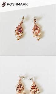 pink pearl dangle earrings   Pearl earrings dangle, Shiny ...