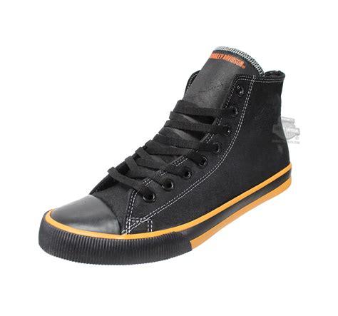 93816 harley davidson 174 mens nathan orange trim black casual shoe barnett harley