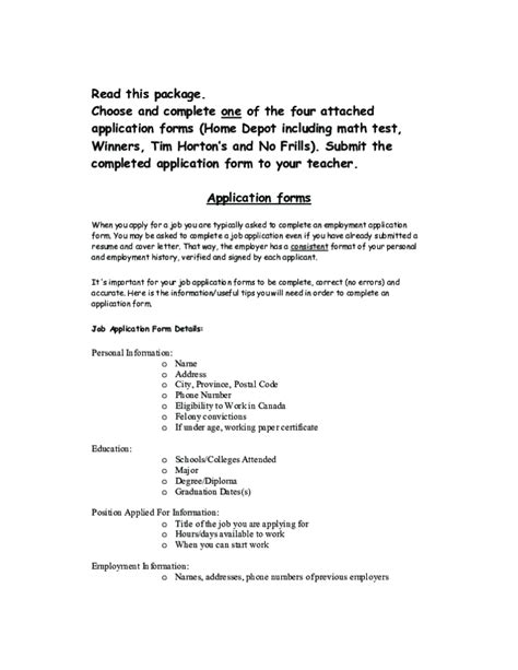 Form Boards Home Depot by Free Printable Home Depot Job Application Form