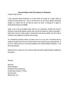 Sample Scholarship Recommendation Letter From Employer