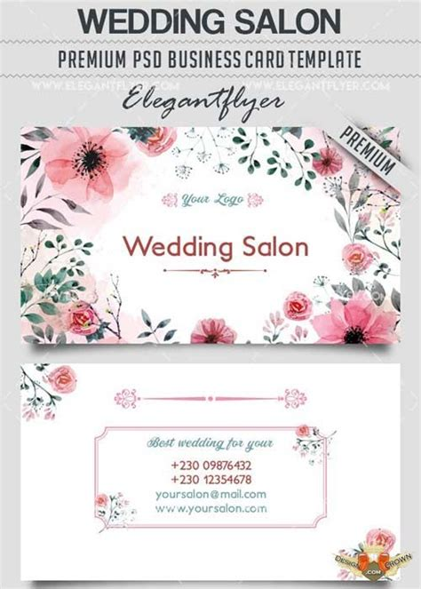 wedding salon  business cards templates psd