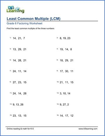 grade 6 math worksheet least common of 3 numbers