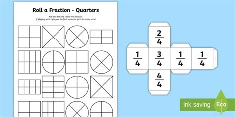 Roll A Fraction Quarters Worksheet  Activity Sheet   Year 1
