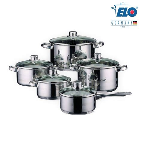 elo germany  piece cookware induction pots  pan set stainless steel kitchen ebay
