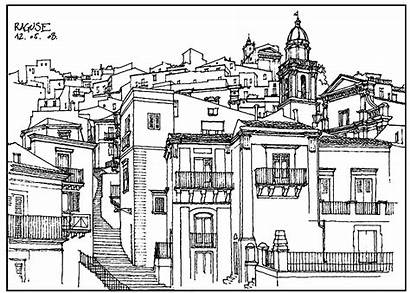 Village Architecture France Coloring Italy Drawing Pages