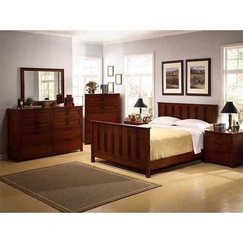 cherry mission style  piece king bedroom set