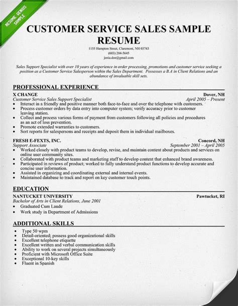 Customer Service Resume Objective Exles by Pin By Resume Genius On Rg Resume Sles Sle Resume