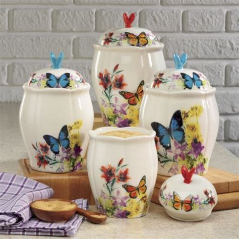 country kitchen canisters butterfly canister set from through the country door 3601