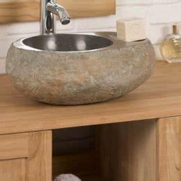 Vasque 35 Cm : lave mains de wc poser en galet de rivi re naturel ~ Edinachiropracticcenter.com Idées de Décoration