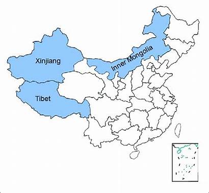 Mongolia China Map Inner Location Regions Tibet