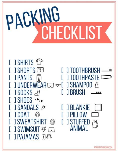 travel template for kids free printable vacation packing list template for kids