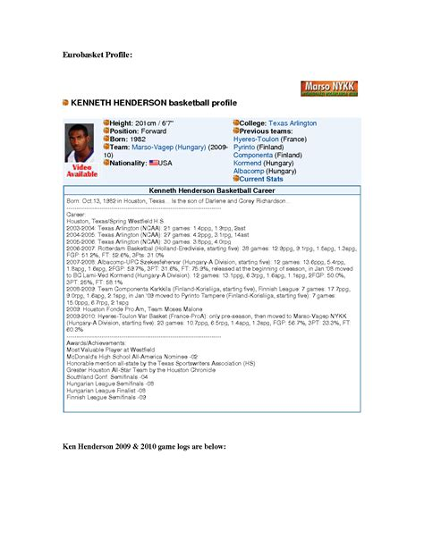 Basketball Player Profile Resume by Best Photos Of Basketball Profile Template In Pdf Basketball Player Profile Sheet Baseball