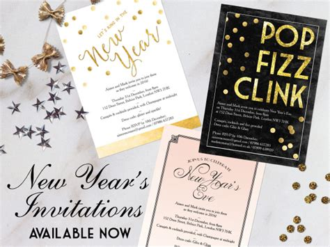 printable printed  years eve party invitations