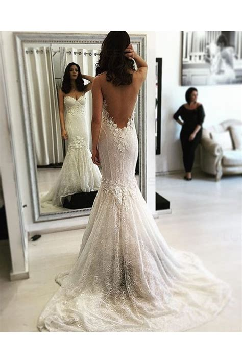 Mermaid Backless Lace Wedding Dresses Bridal Gowns 3030055