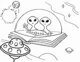 Coloring Ufo Pages Alien Space Outer Flying Cool sketch template