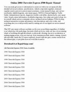 2004 Chevrolet Express 3500 Repair Manual Online By Kim