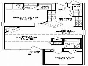 Simple 2 bedroom house floor plans small two bedroom house for Simple house plan with 1 bedrooms