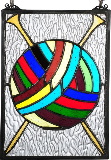 ball  yarn  needles stained glass window  accessories