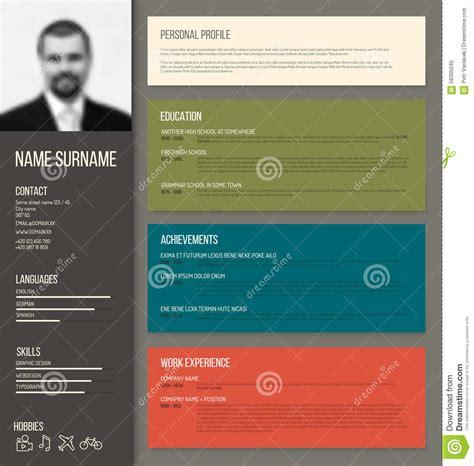 minimalistic cv resume template stock vector image
