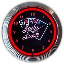 Poker Lady Luck Neon Clock NC 20 124