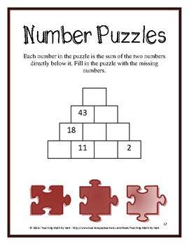 number puzzles  warm  math activity  teaching math