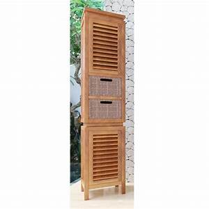 colonne de salle de bain teck ubud 2portes 2 tiroirs With colonne salle de bain en teck