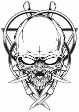 Knife Skull Skulls Illustration Drawing Tattoo Drawings Behance Blood Tattoos Knives Designs Sketches Demon Viking Getdrawings Joker Cross Stencil Illustrations sketch template