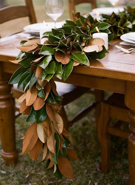 picture  organic inspired diy magnolia leaf table runner