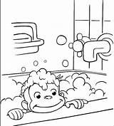 Curious George Coloring Bathing Pages Printable Monkey Bathroom Bath Halloween Colouring Sheets Taking Printables Drawing Take Cartoon Print Shower Clipart sketch template