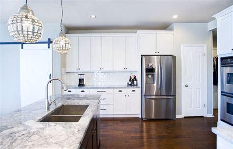 modern white kitchen  espresso island contemporary