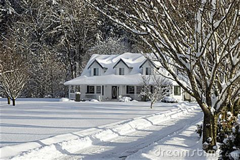 snowy farm house stock image image