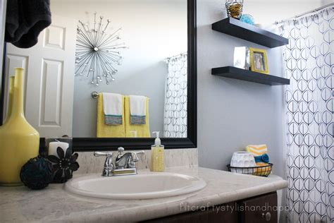 Yellow And Teal Bathroom Decor by Fit Crafty Stylish And Happy Guest Bathroom Makeover