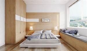 Retro Minimalist Bedroom Apartment With Wooden Classic ...