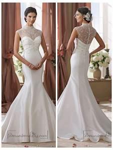 high beaded illusion neckline mermaid wedding dress With illusion neck wedding dress