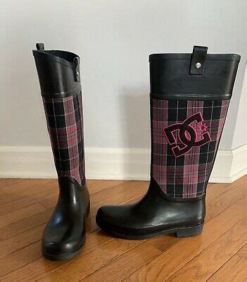 DC Shoes Chelsea Black Embroidered Plaid Rain Boots 303120 ...