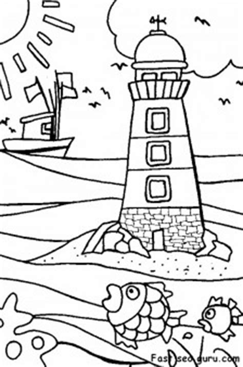 printable lighthouse beach coloring pages  printable coloring pages  kids
