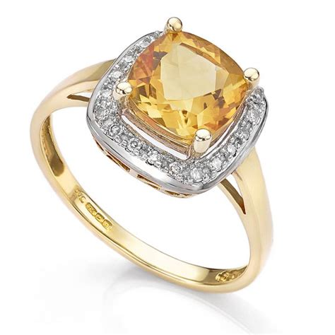 citrine  diamond halo cluster ring