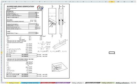 Verification Of Welding  Mec Engineering Spreadsheets