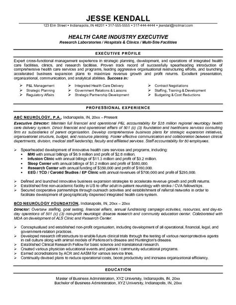 What Is Executive Profile On Resume by Resume Sles For Healthcare Professionals Recentresumes