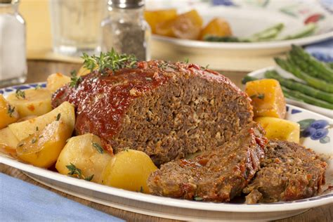 slow cooked meat loaf  potatoes mrfoodcom