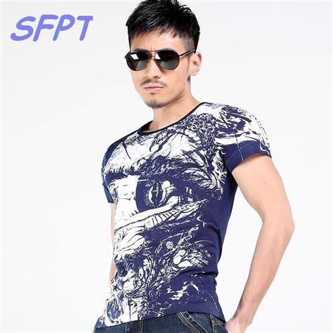 2017 summer mens casual t shirts o neck navy blue 3d