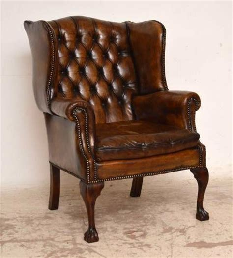 antique leather armchair antique buttoned leather wing back armchair 245036 1286