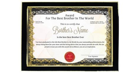personalized award certificate  worlds  brother